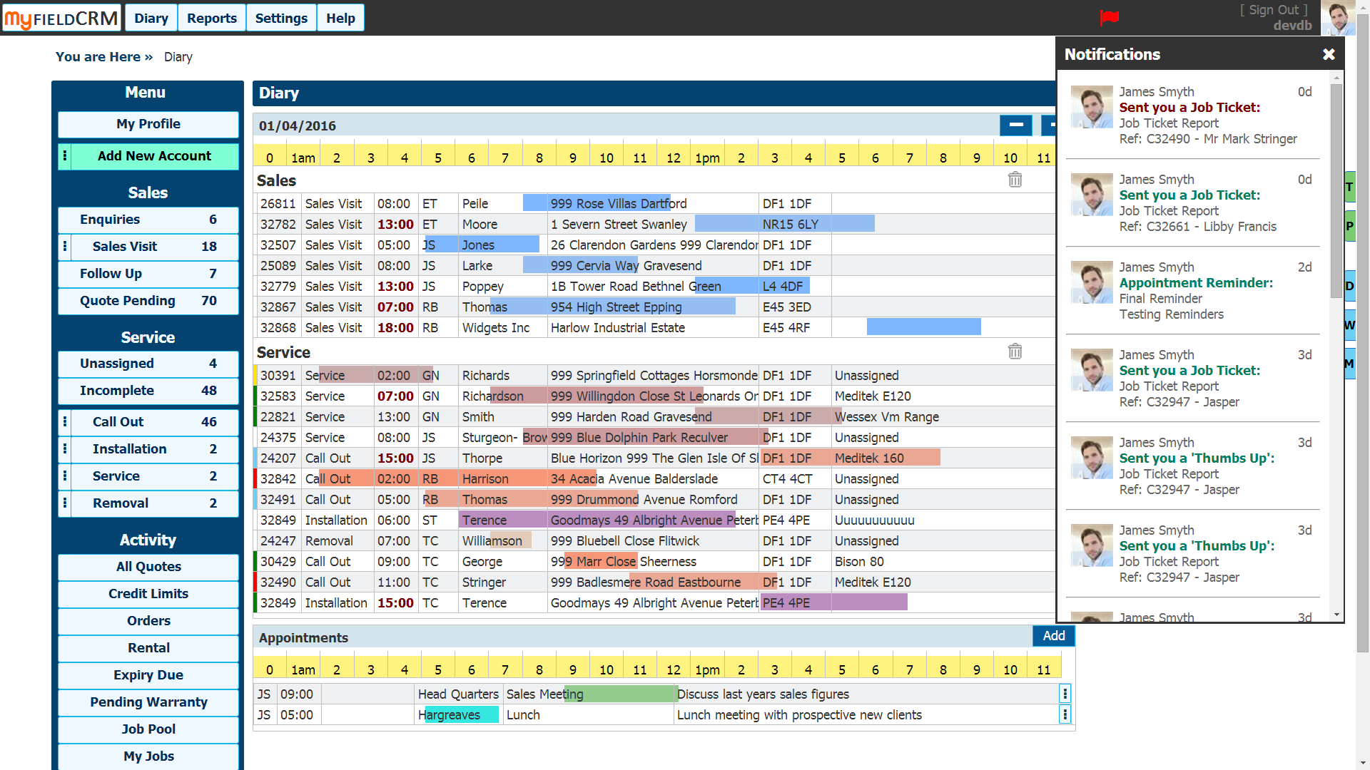 Field Service Management And Diary Management Software